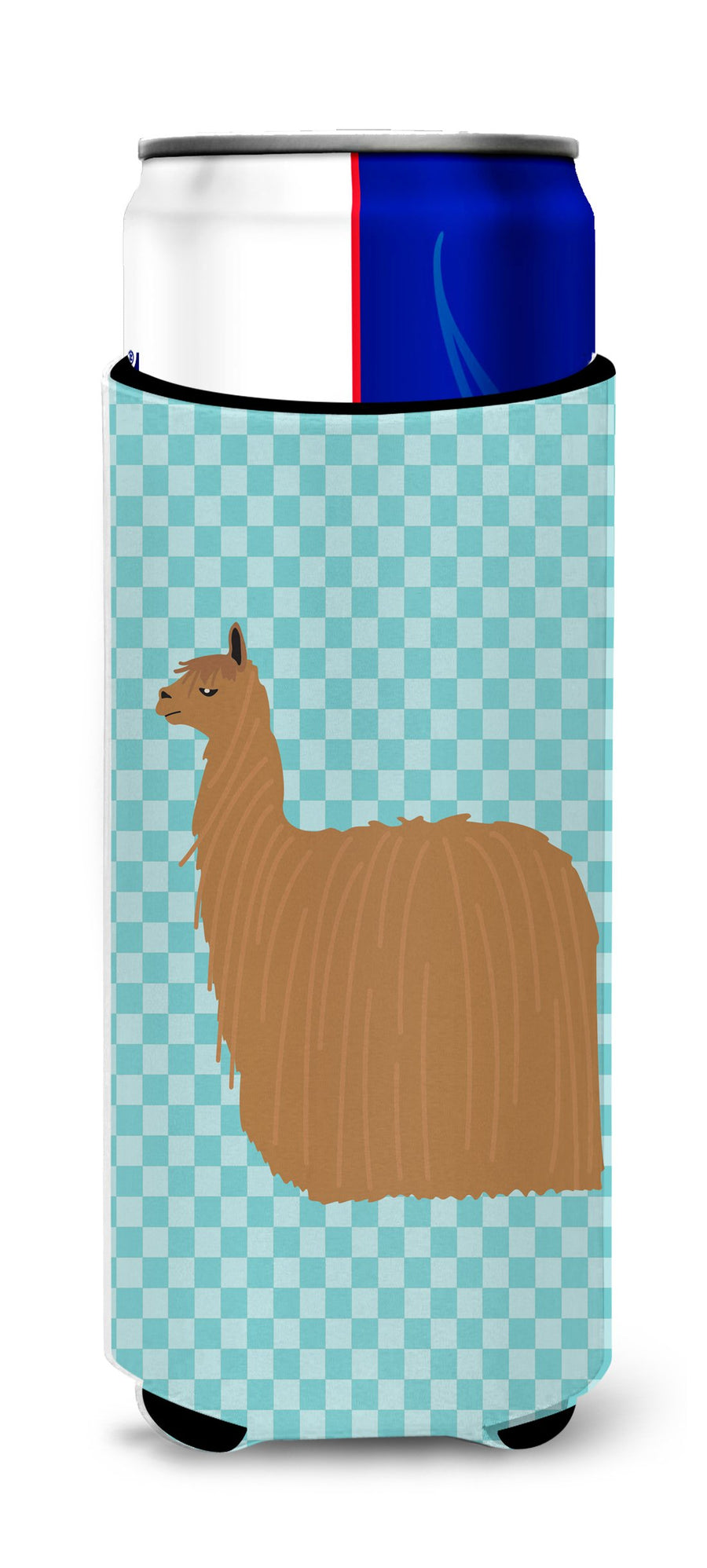 Buy this Alpaca Suri Blue Check Michelob Ultra Hugger for slim cans