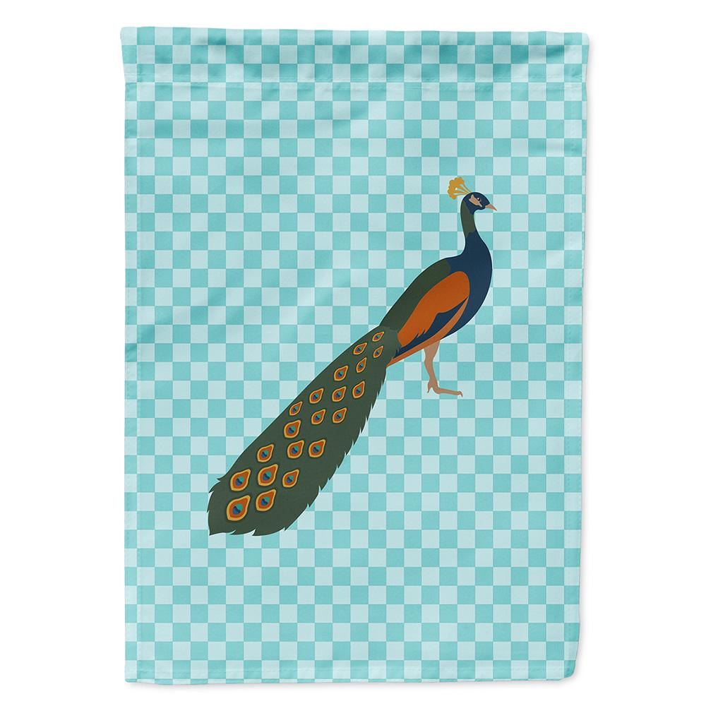 Buy this Indian Peacock Peafowl Blue Check Flag Garden Size
