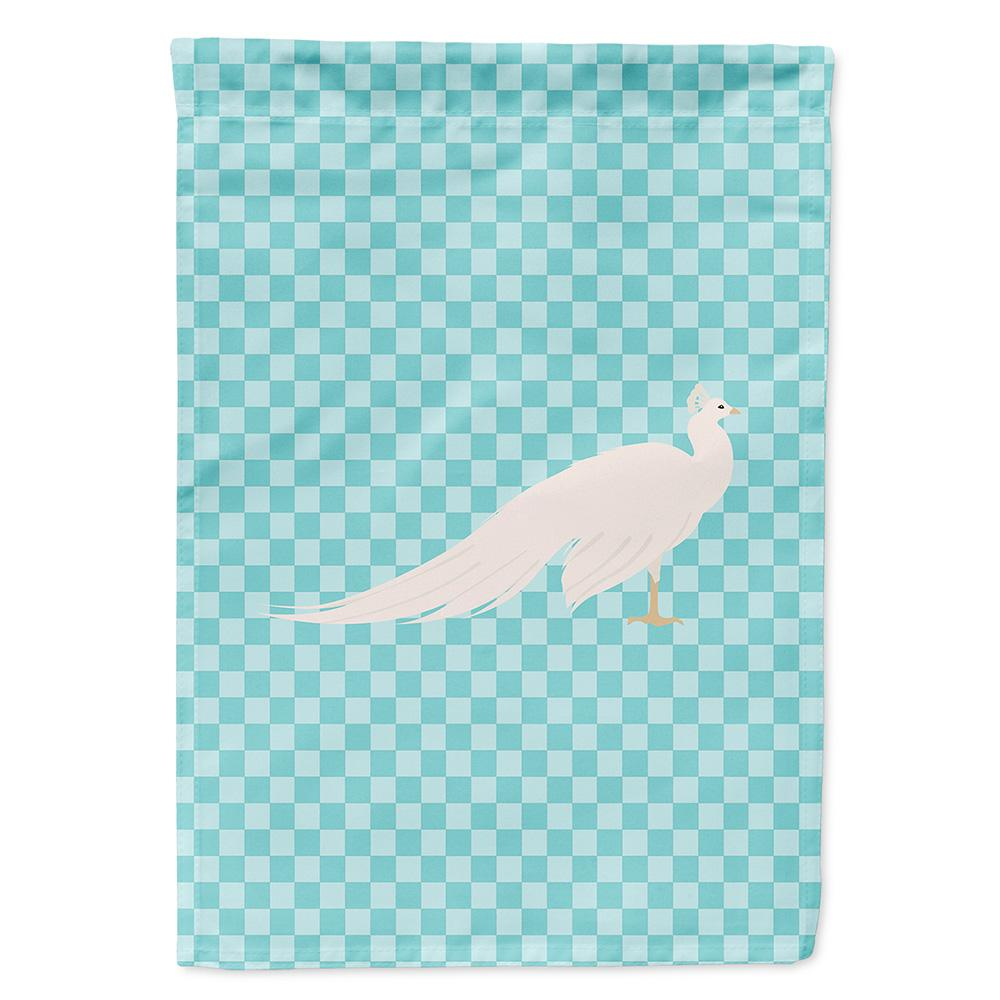 Buy this White Peacock Peafowl Blue Check Flag Garden Size