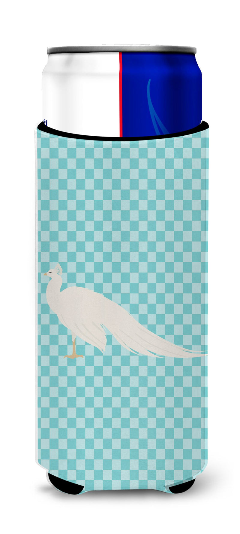 Buy this White Peacock Peafowl Blue Check Michelob Ultra Hugger for slim cans