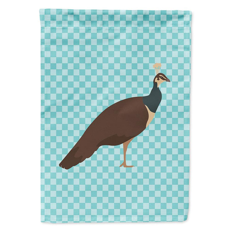Buy this Indian Peahen Peafowl Blue Check Flag Garden Size