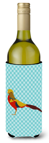 Buy this Golden or Chinese Pheasant Blue Check Wine Bottle Beverge Insulator Hugger BB8102LITERK