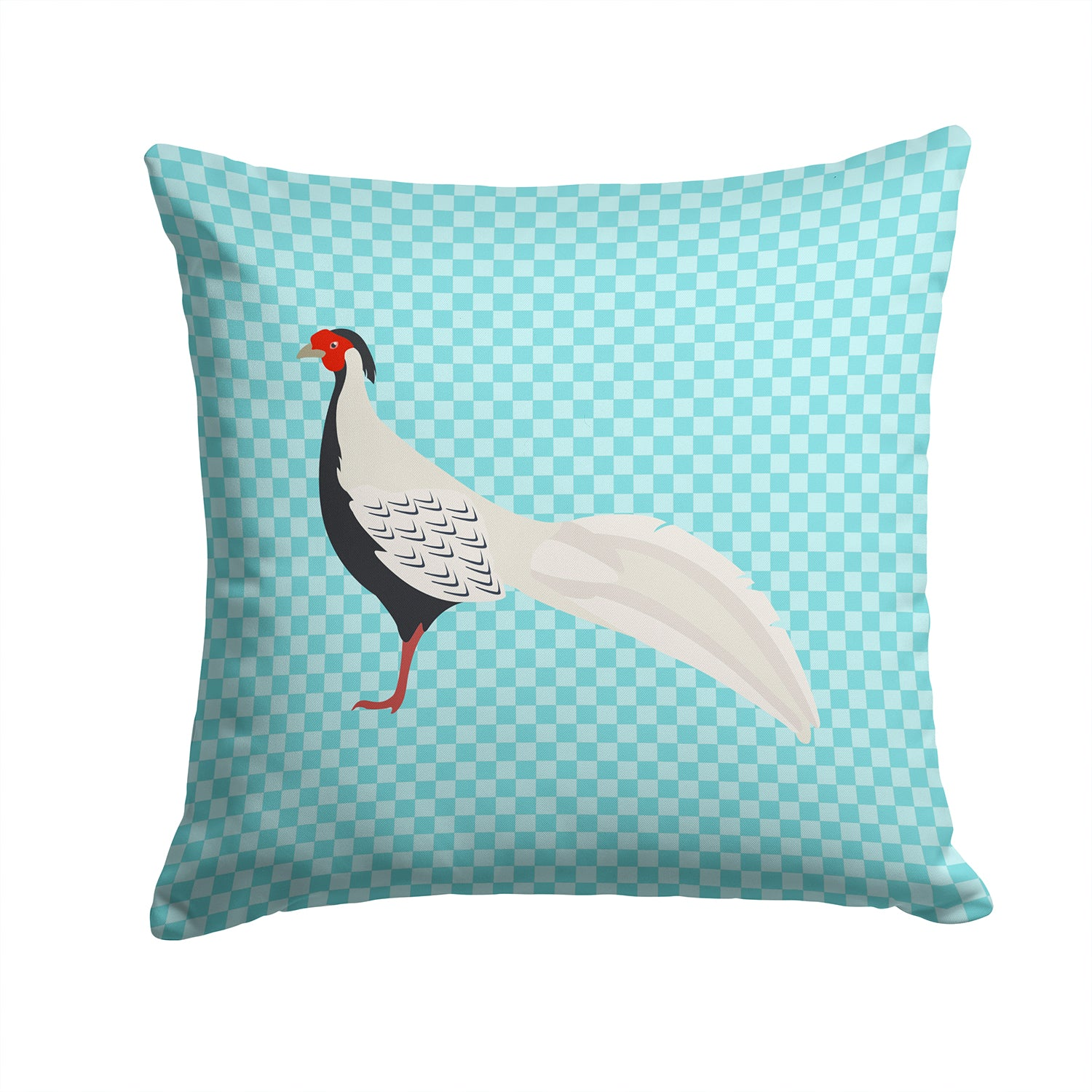 Buy this Silver Pheasant Blue Check Fabric Decorative Pillow BB8103PW1414