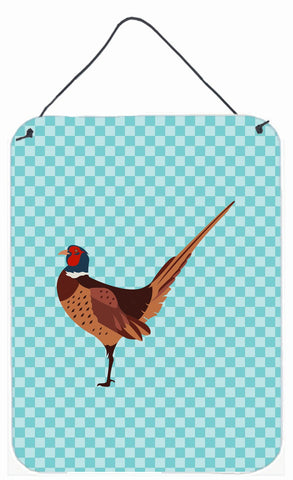 Buy this Ring-necked Common Pheasant Blue Check Wall or Door Hanging Prints BB8104DS1216
