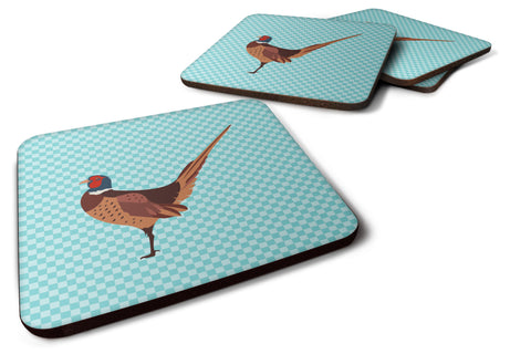 Buy this Ring-necked Common Pheasant Blue Check Foam Coaster Set of 4 BB8104FC