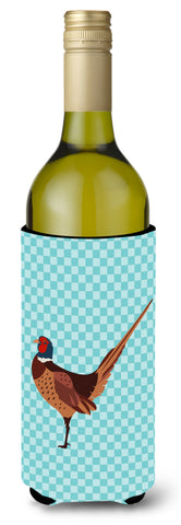Buy this Ring-necked Common Pheasant Blue Check Wine Bottle Beverge Insulator Hugger BB8104LITERK