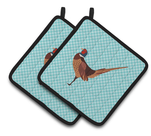 Buy this Ring-necked Common Pheasant Blue Check Pair of Pot Holders BB8104PTHD