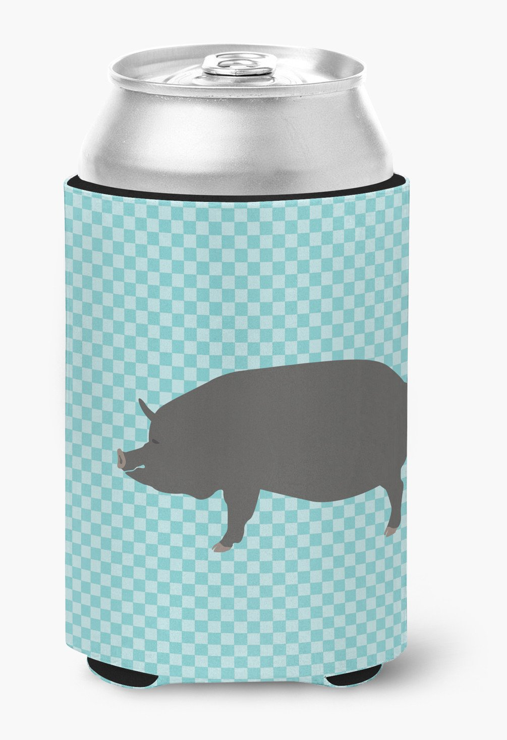 Berkshire Pig Blue Check Can or Bottle Hugger BB8107CC by Caroline's Treasures