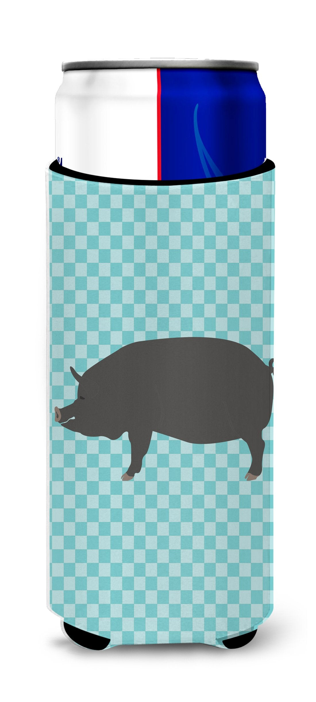 Berkshire Pig Blue Check Michelob Ultra Hugger for slim cans by Caroline's Treasures