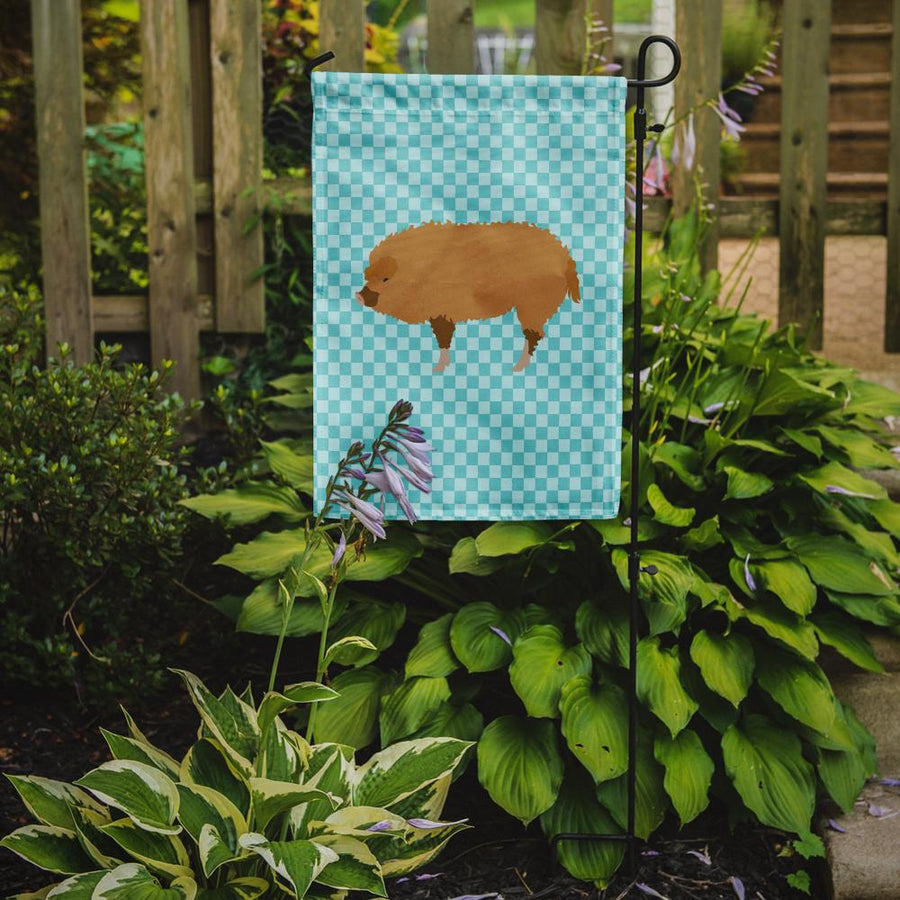 Buy this Hungarian Mangalica Pig Blue Check Flag Garden Size