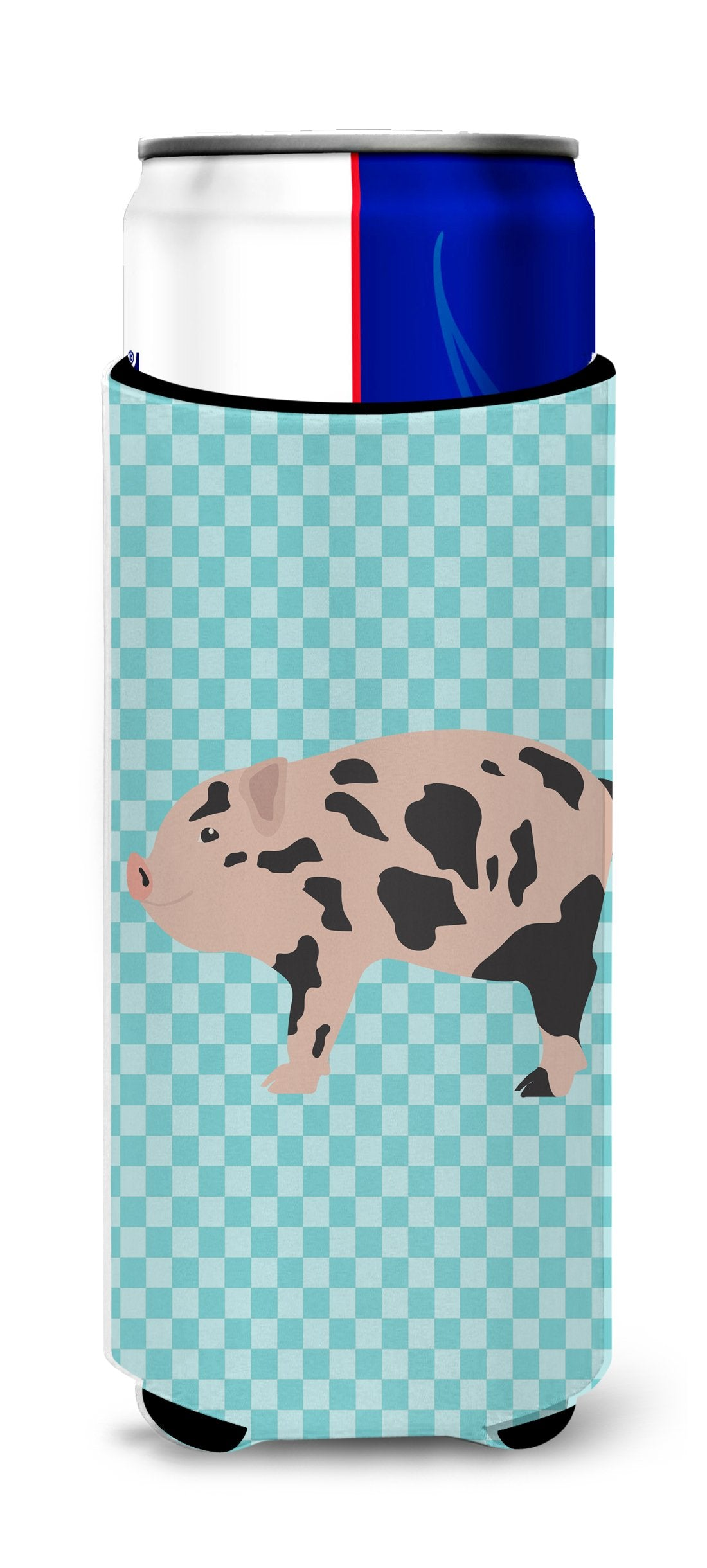 Mini Miniature Pig Blue Check Michelob Ultra Hugger for slim cans by Caroline's Treasures