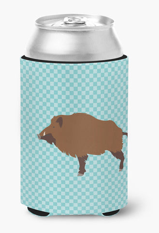 Buy this Wild Boar Pig Blue Check Can or Bottle Hugger BB8110CC
