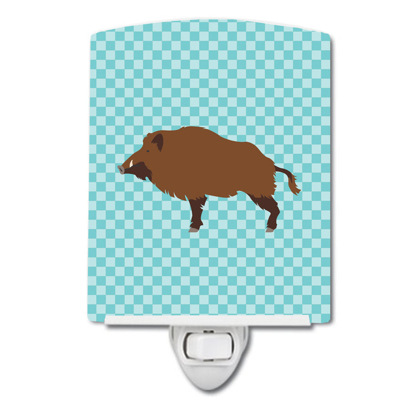 Buy this Wild Boar Pig Blue Check Ceramic Night Light BB8110CNL