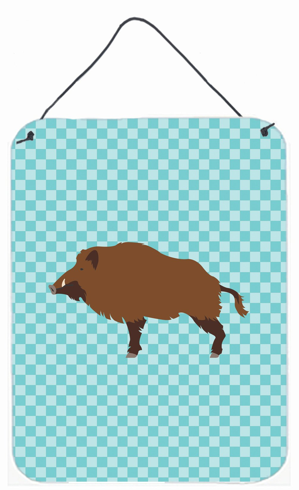 Buy this Wild Boar Pig Blue Check Wall or Door Hanging Prints BB8110DS1216