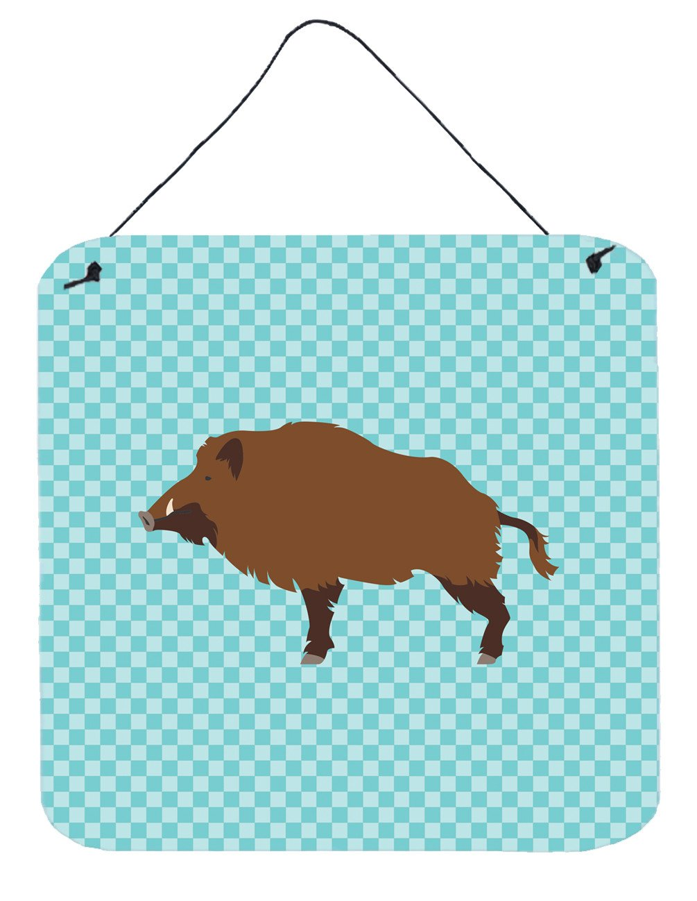 Buy this Wild Boar Pig Blue Check Wall or Door Hanging Prints BB8110DS66