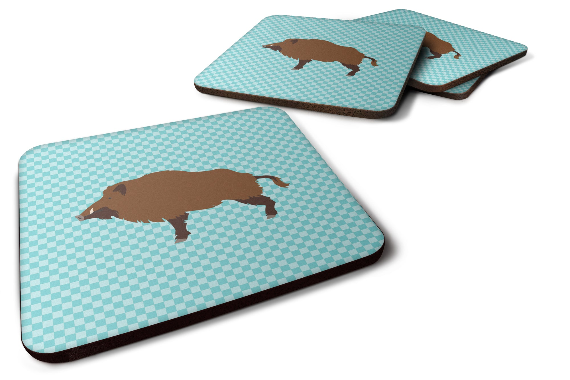 Buy this Wild Boar Pig Blue Check Foam Coaster Set of 4 BB8110FC