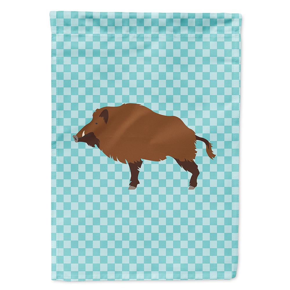 Buy this Wild Boar Pig Blue Check Flag Garden Size