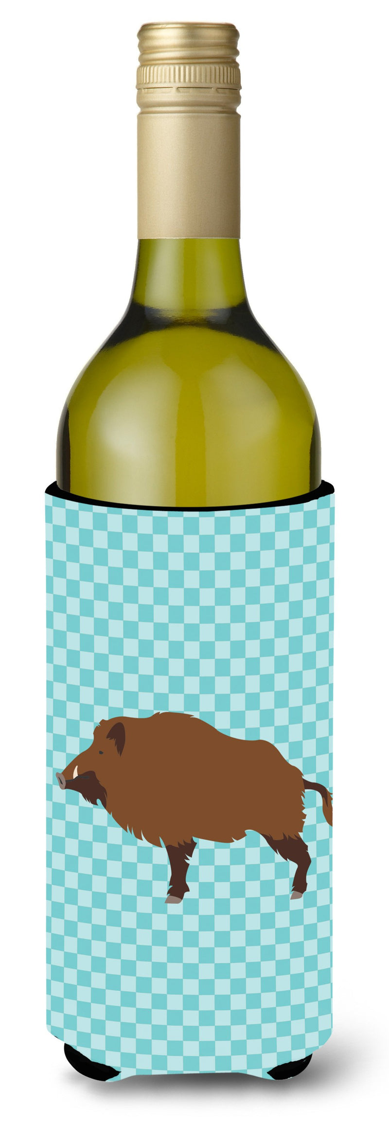 Buy this Wild Boar Pig Blue Check Wine Bottle Beverge Insulator Hugger BB8110LITERK