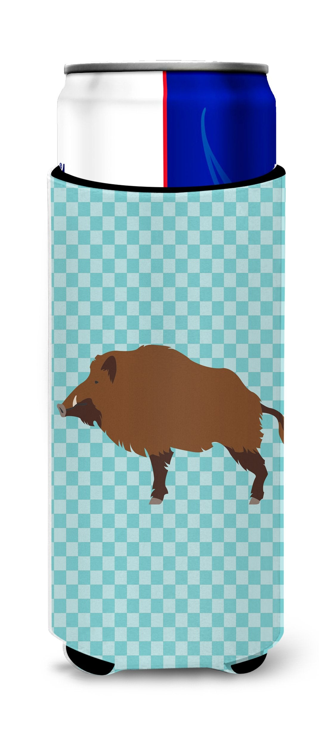 Wild Boar Pig Blue Check Michelob Ultra Hugger for slim cans by Caroline's Treasures