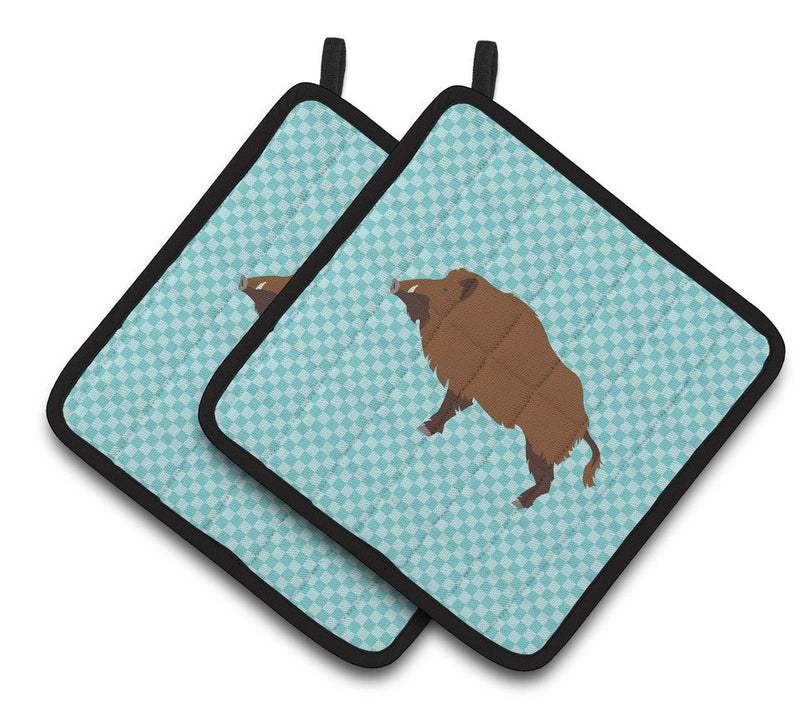 Buy this Wild Boar Pig Blue Check Pair of Pot Holders BB8110PTHD