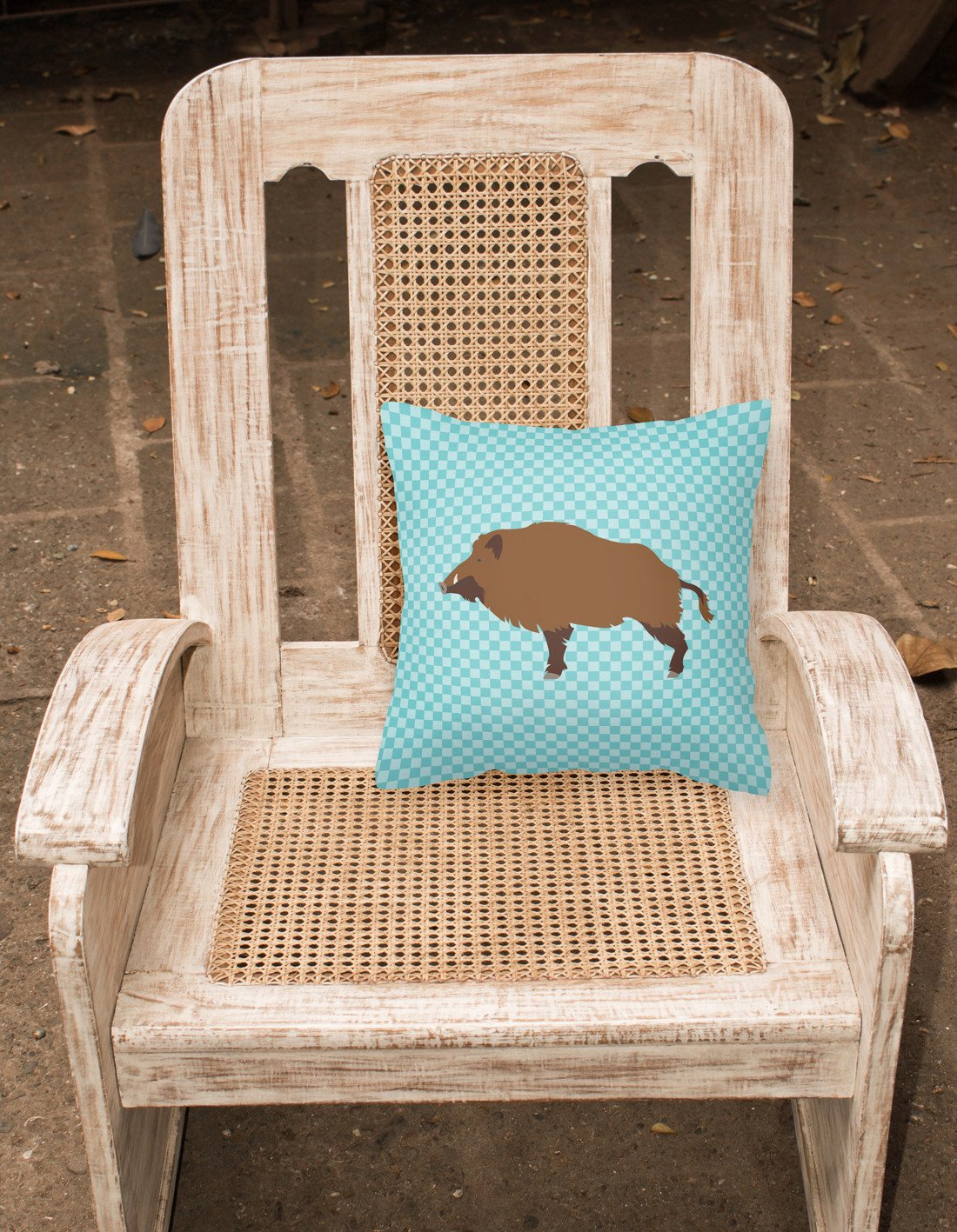 Buy this Wild Boar Pig Blue Check Fabric Decorative Pillow BB8110PW1818