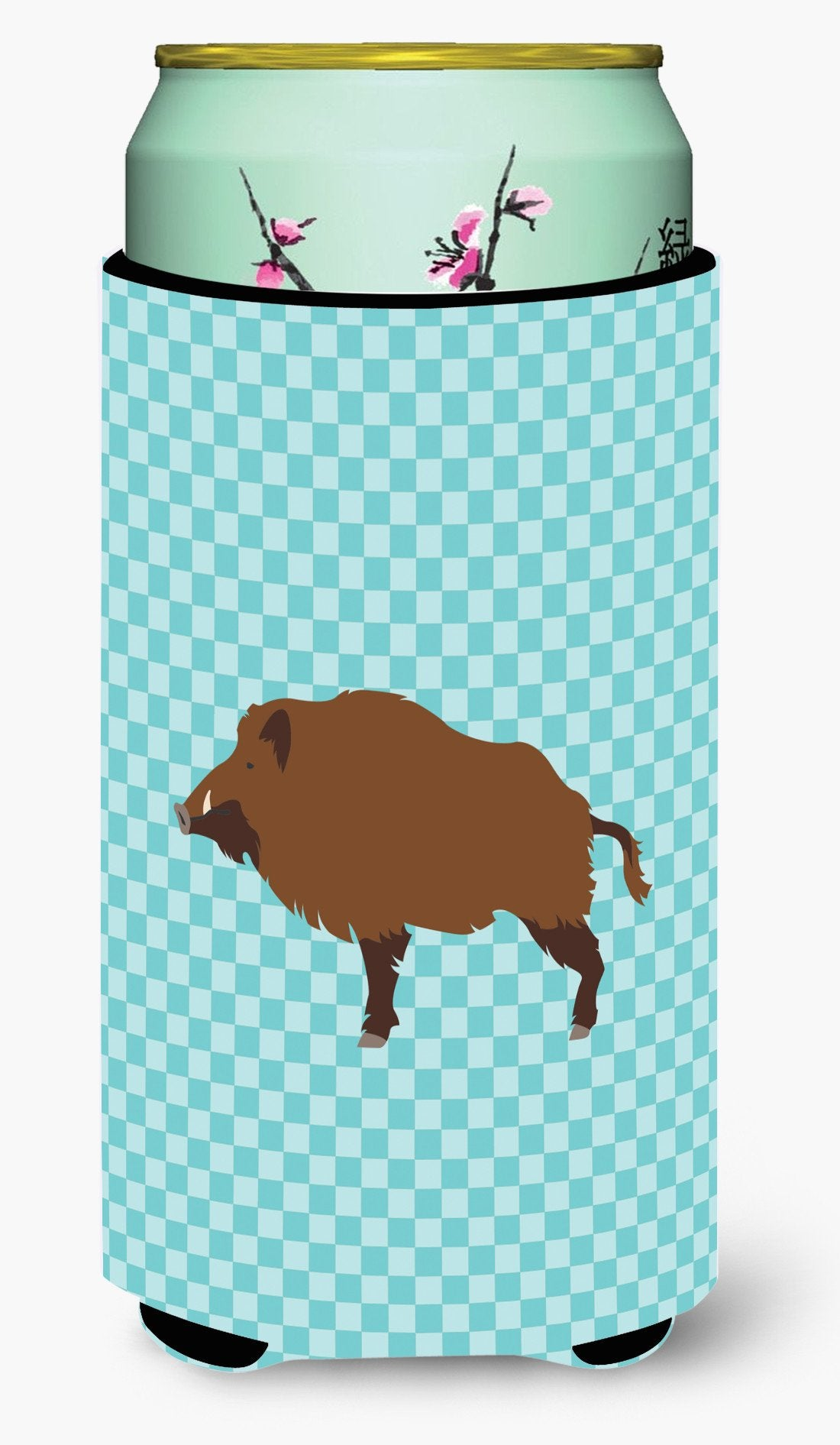 Buy this Wild Boar Pig Blue Check Tall Boy Beverage Insulator Hugger BB8110TBC