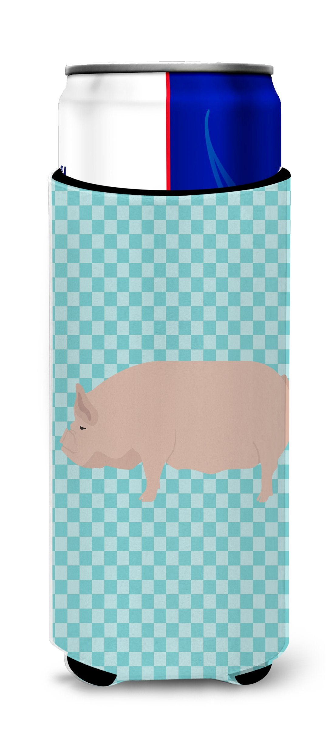 Welsh Pig Blue Check Michelob Ultra Hugger for slim cans by Caroline's Treasures