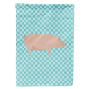 Buy this English Large White Pig Blue Check Flag Garden Size