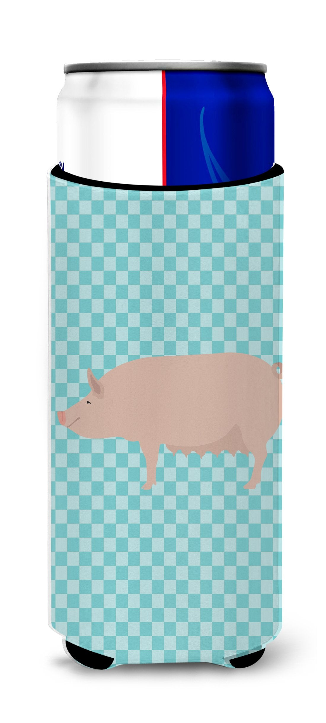 English Large White Pig Blue Check Michelob Ultra Hugger for slim cans by Caroline's Treasures