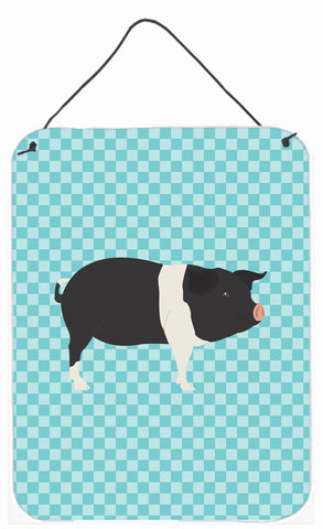 Buy this Hampshire Pig Blue Check Wall or Door Hanging Prints BB8113DS1216