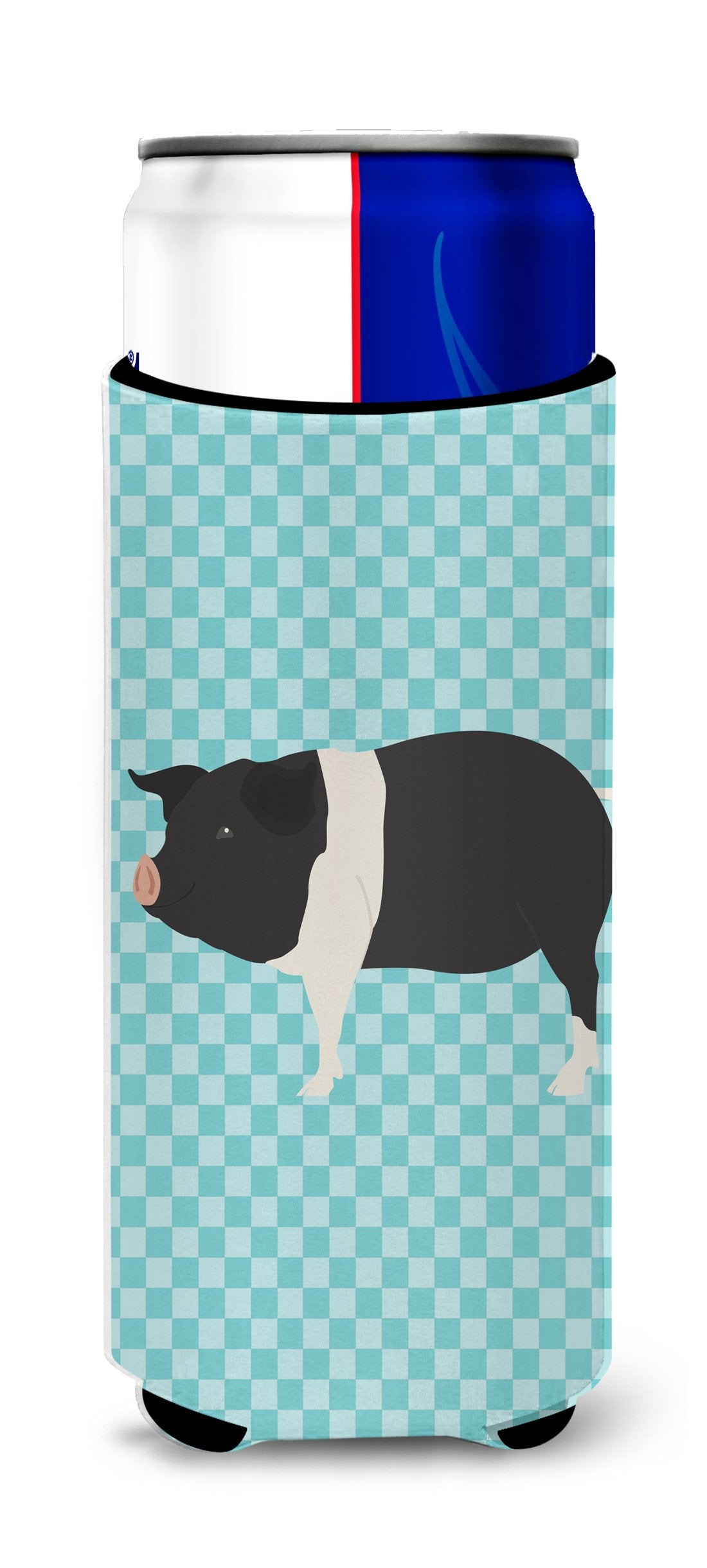 Hampshire Pig Blue Check Michelob Ultra Hugger for slim cans by Caroline's Treasures