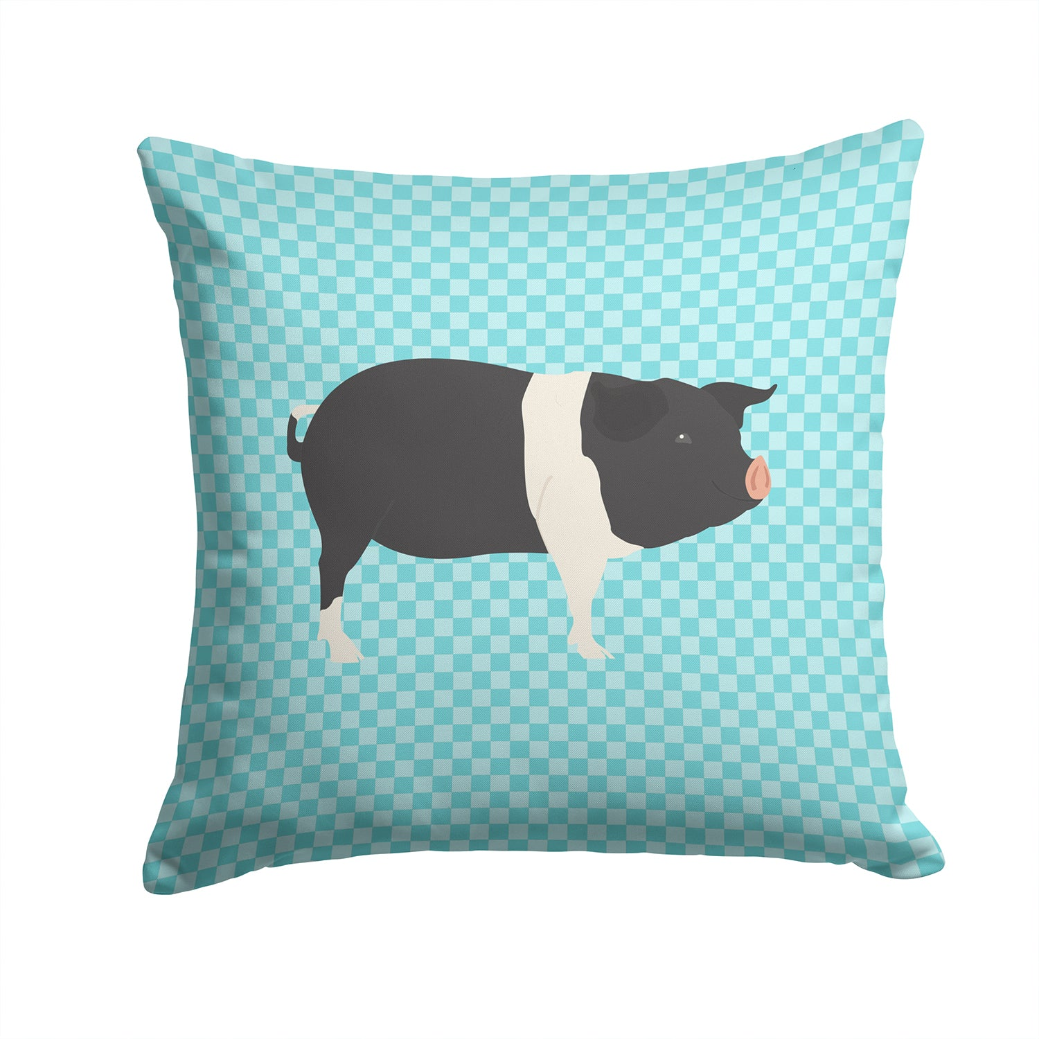 Hampshire Pig Blue Check Fabric Decorative Pillow BB8113PW1414 by Caroline's Treasures
