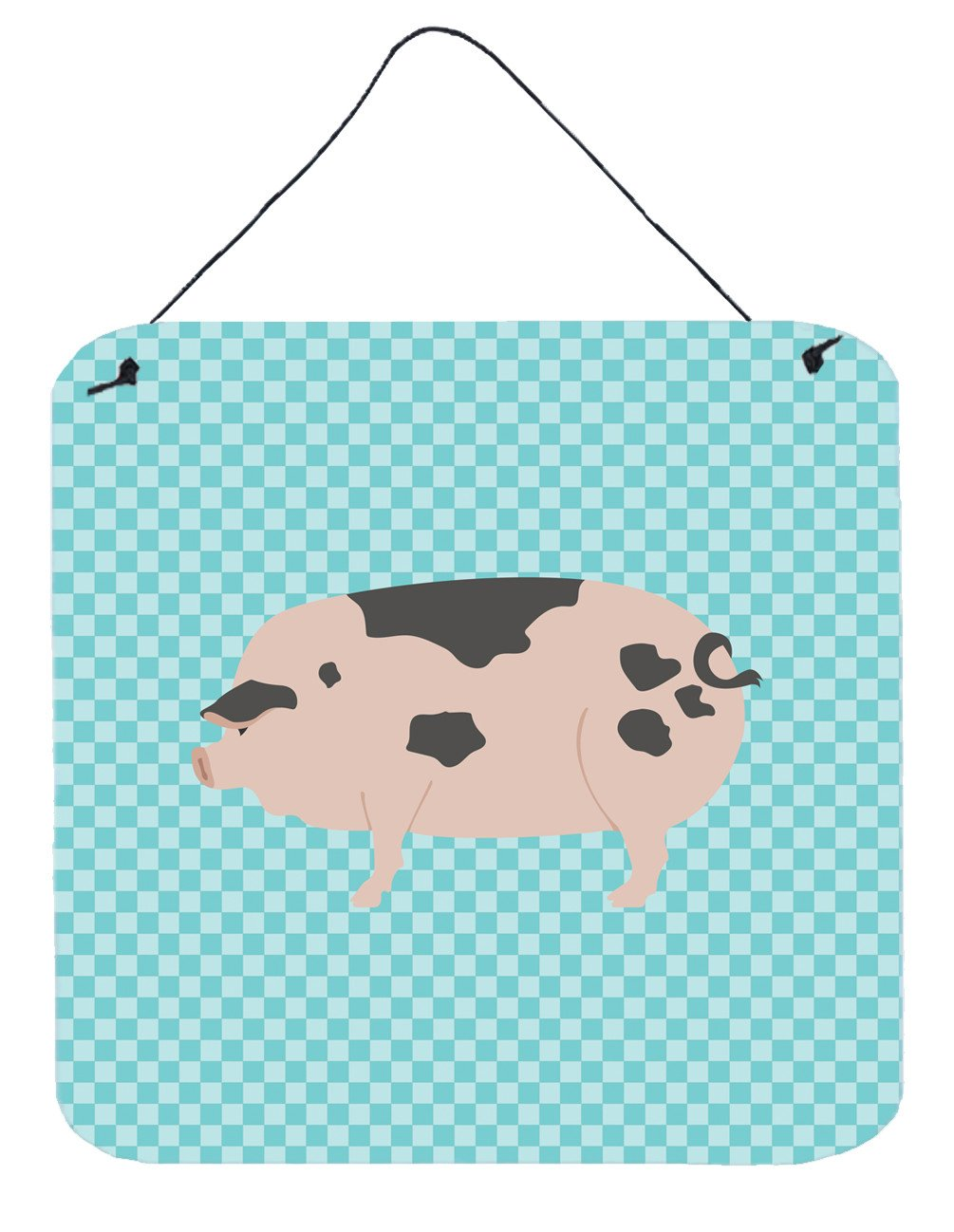 Gloucester Old Spot Pig Blue Check Wall or Door Hanging Prints BB8114DS66 by Caroline's Treasures