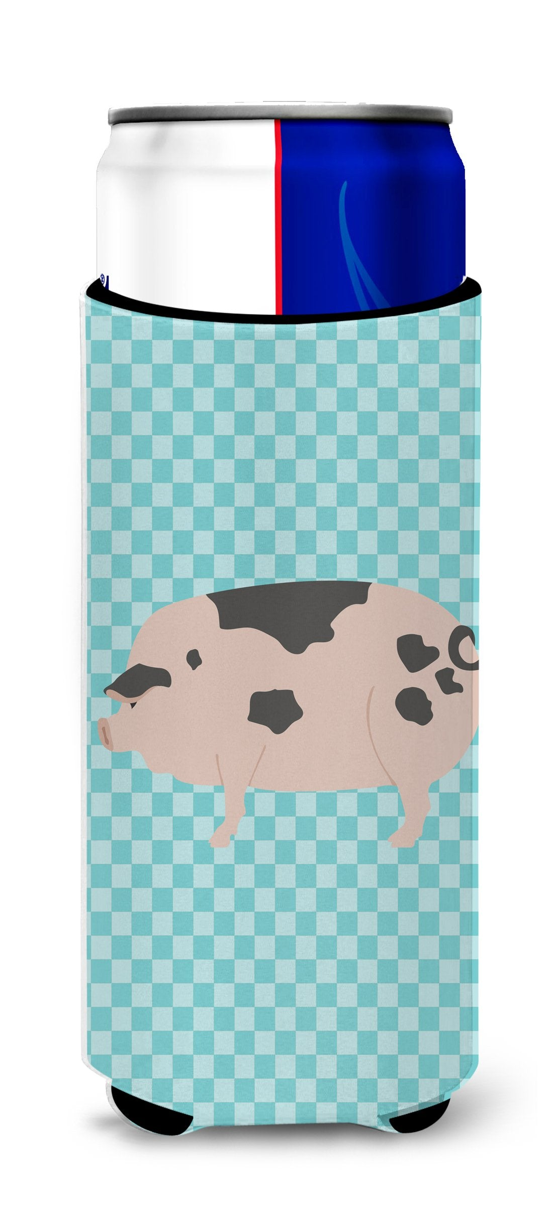Gloucester Old Spot Pig Blue Check Michelob Ultra Hugger for slim cans by Caroline's Treasures