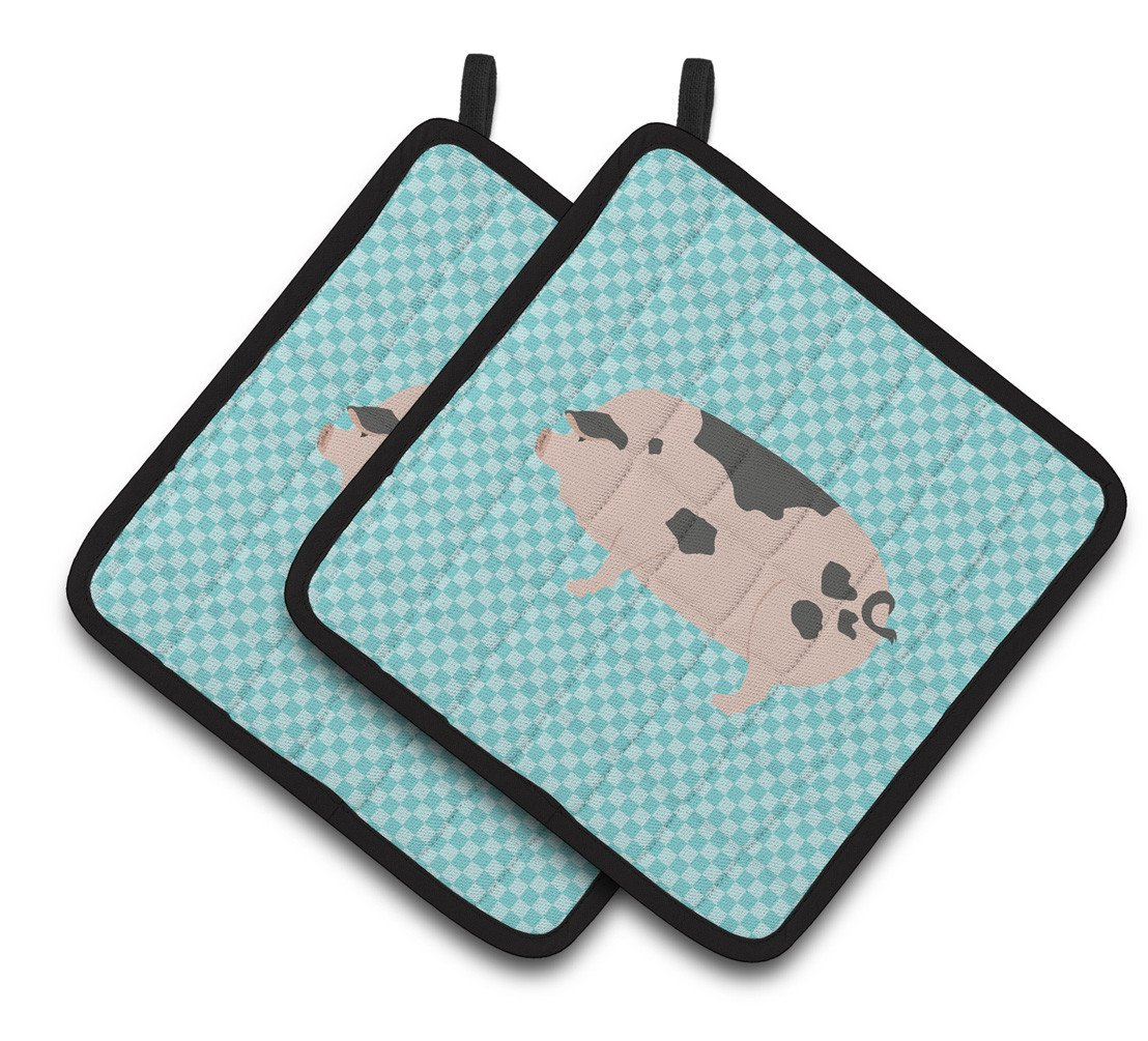 Gloucester Old Spot Pig Blue Check Pair of Pot Holders BB8114PTHD by Caroline's Treasures