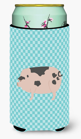 Buy this Gloucester Old Spot Pig Blue Check Tall Boy Beverage Insulator Hugger BB8114TBC