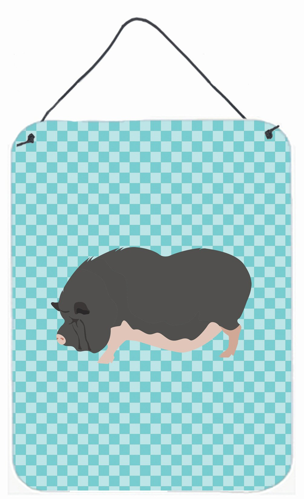 Vietnamese Pot-Bellied Pig Blue Check Wall or Door Hanging Prints BB8115DS1216 by Caroline's Treasures