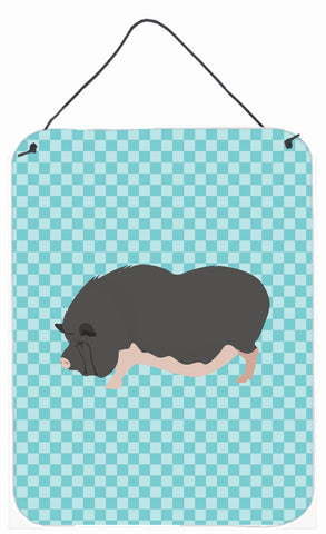 Buy this Vietnamese Pot-Bellied Pig Blue Check Wall or Door Hanging Prints BB8115DS1216