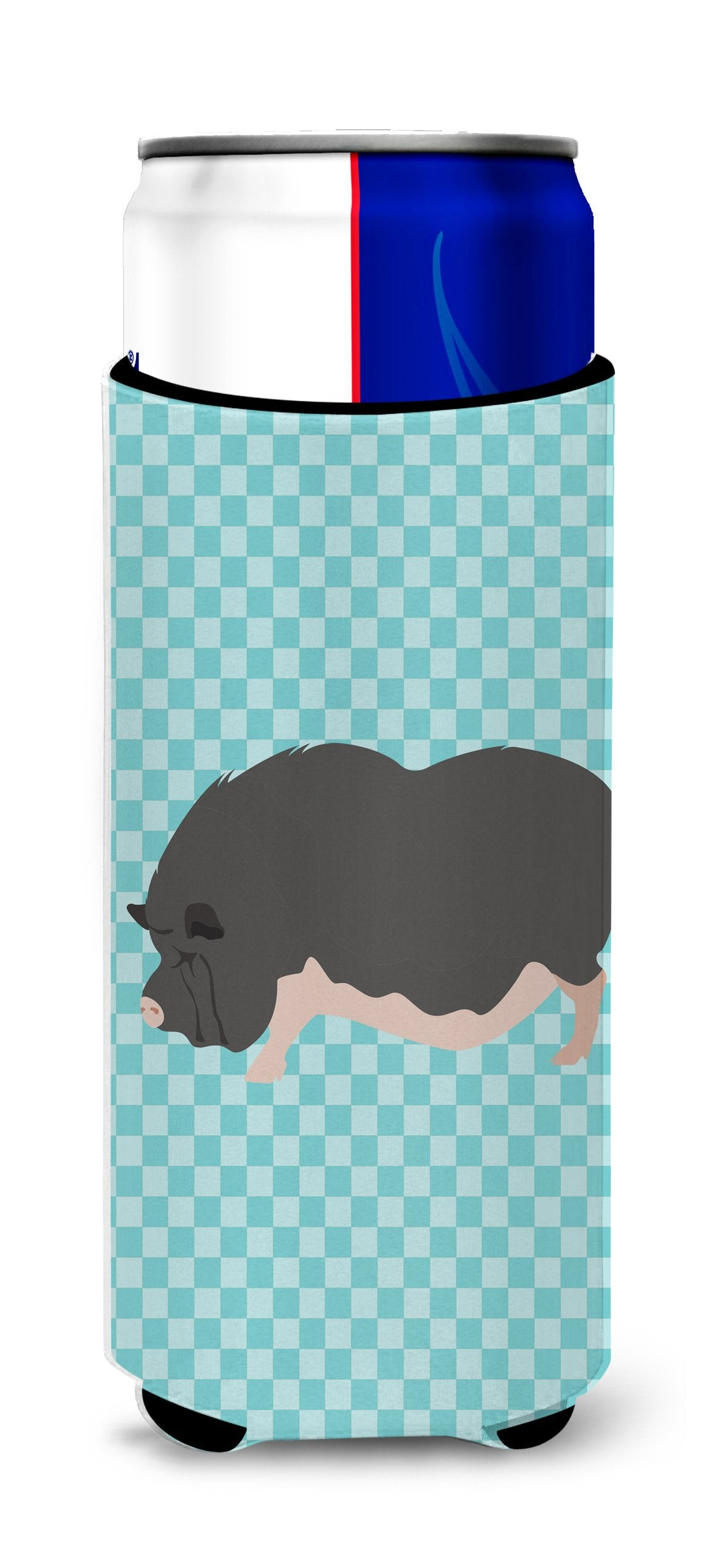 Vietnamese Pot-Bellied Pig Blue Check Michelob Ultra Hugger for slim cans by Caroline's Treasures