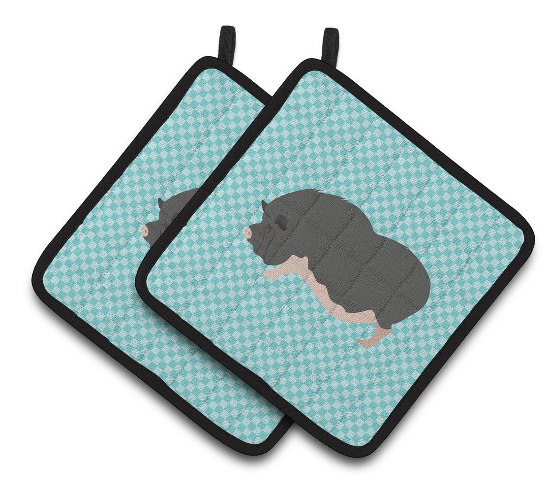 Vietnamese Pot-Bellied Pig Blue Check Pair of Pot Holders BB8115PTHD by Caroline's Treasures