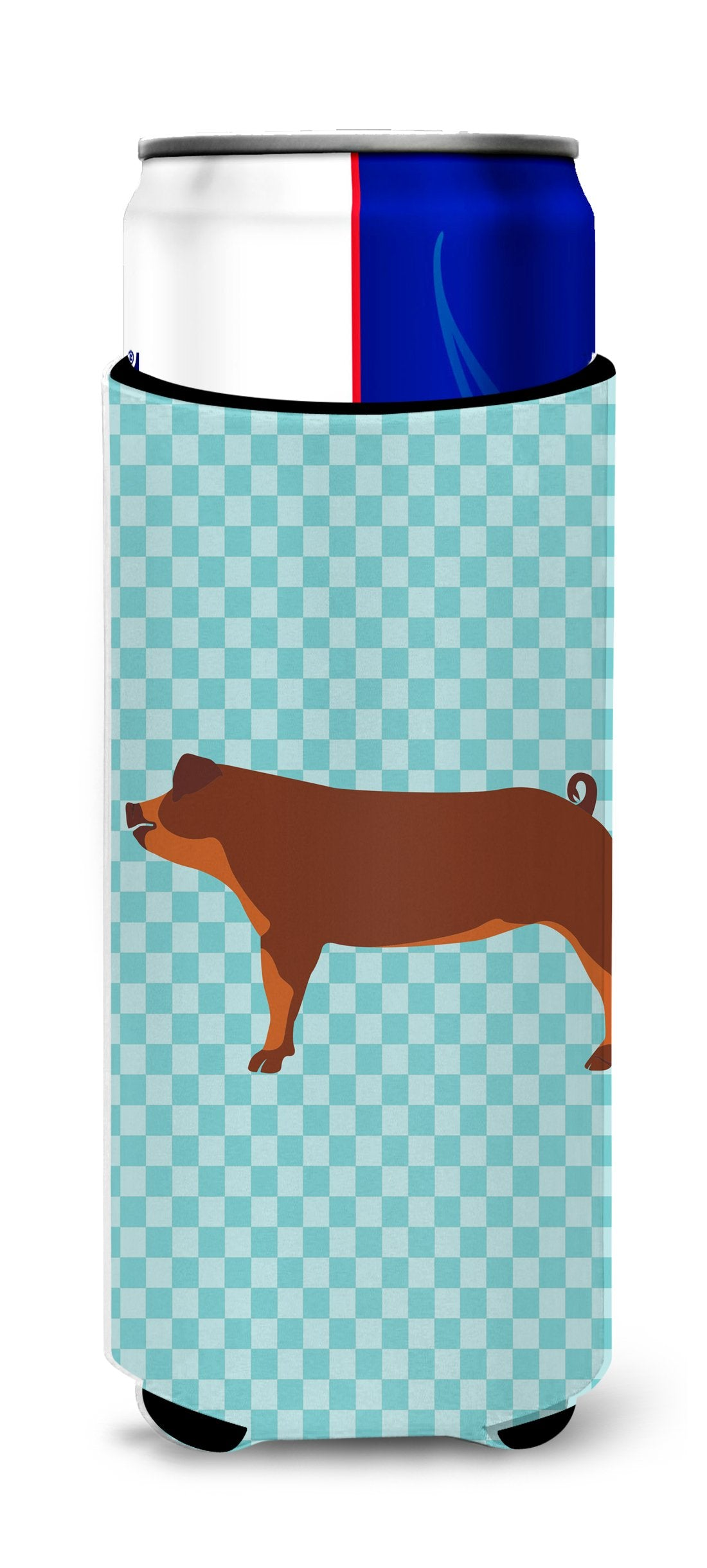 Duroc Pig Blue Check Michelob Ultra Hugger for slim cans by Caroline's Treasures