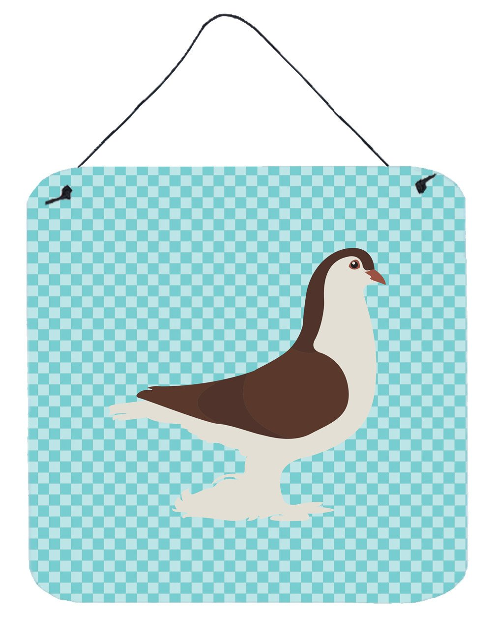 Large Pigeon Blue Check Wall or Door Hanging Prints BB8117DS66 by Caroline's Treasures