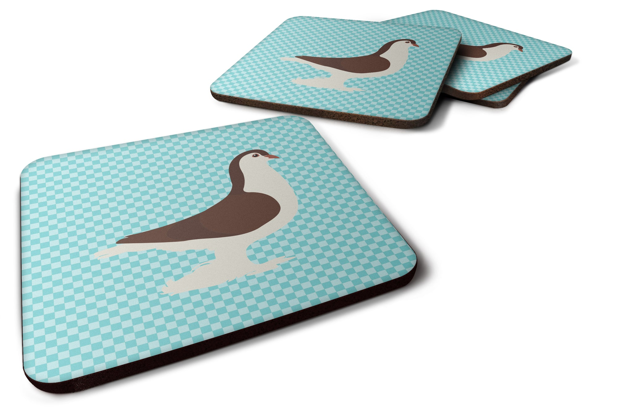 Large Pigeon Blue Check Foam Coaster Set of 4 BB8117FC by Caroline's Treasures