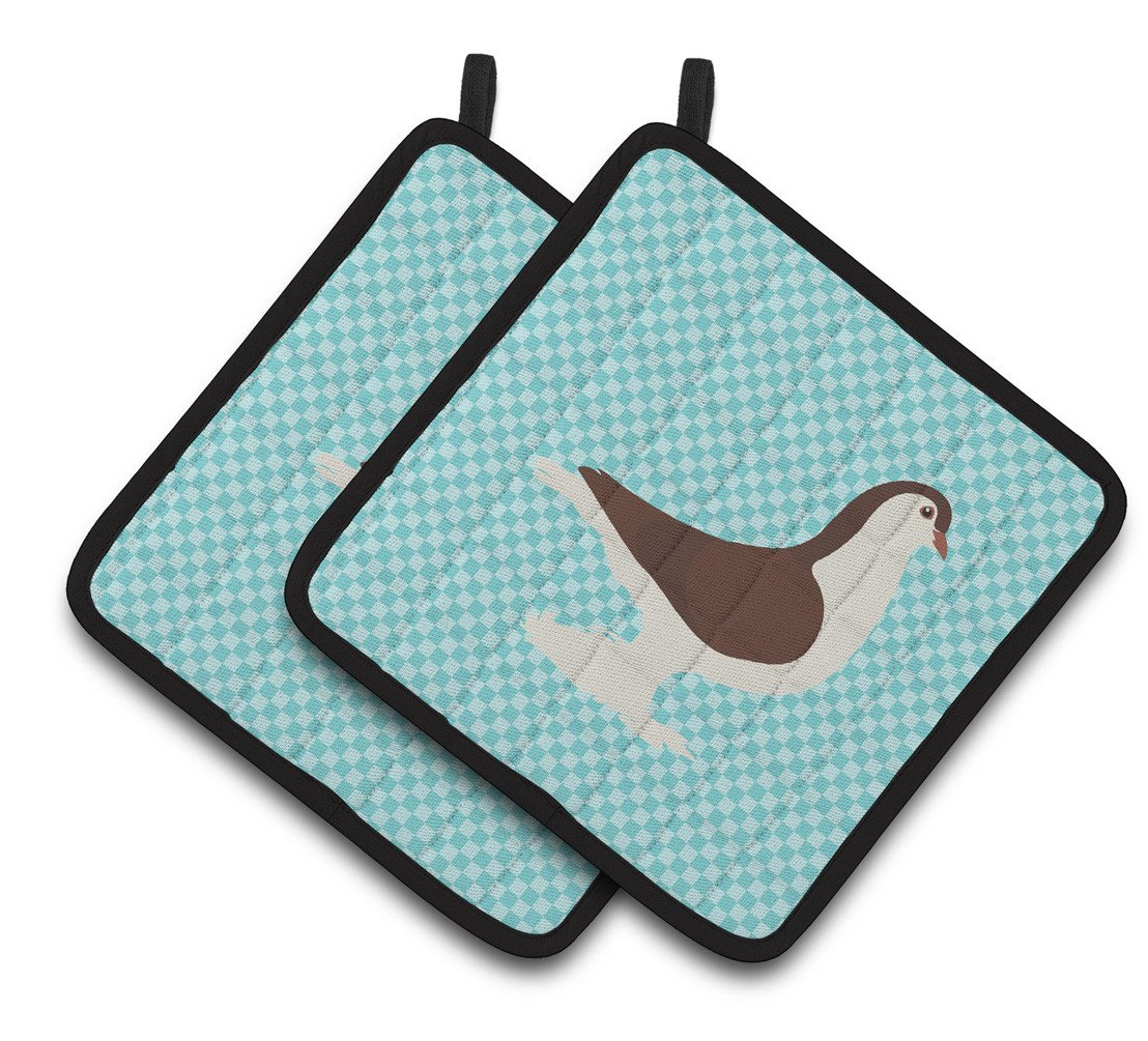 Large Pigeon Blue Check Pair of Pot Holders BB8117PTHD by Caroline's Treasures
