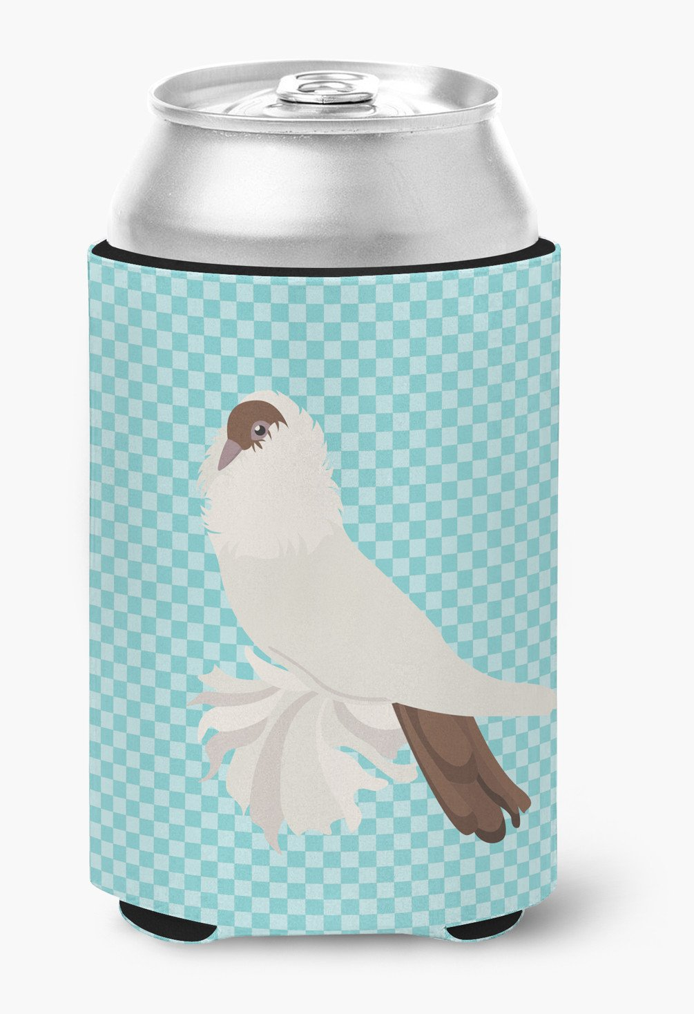 German Helmet Pigeon Blue Check Can or Bottle Hugger BB8118CC by Caroline's Treasures