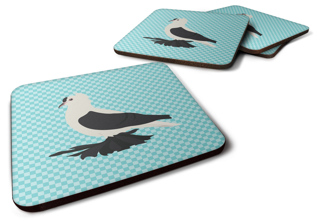 Buy this Saxon Fairy Swallow Pigeon Blue Check Foam Coaster Set of 4 BB8120FC