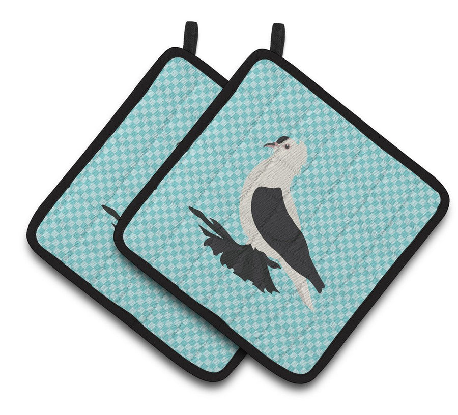 Buy this Saxon Fairy Swallow Pigeon Blue Check Pair of Pot Holders BB8120PTHD