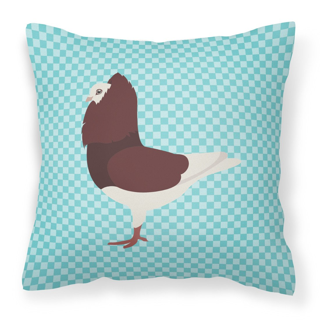 Capuchin Red Pigeon Blue Check Fabric Decorative Pillow BB8122PW1818 by Caroline's Treasures