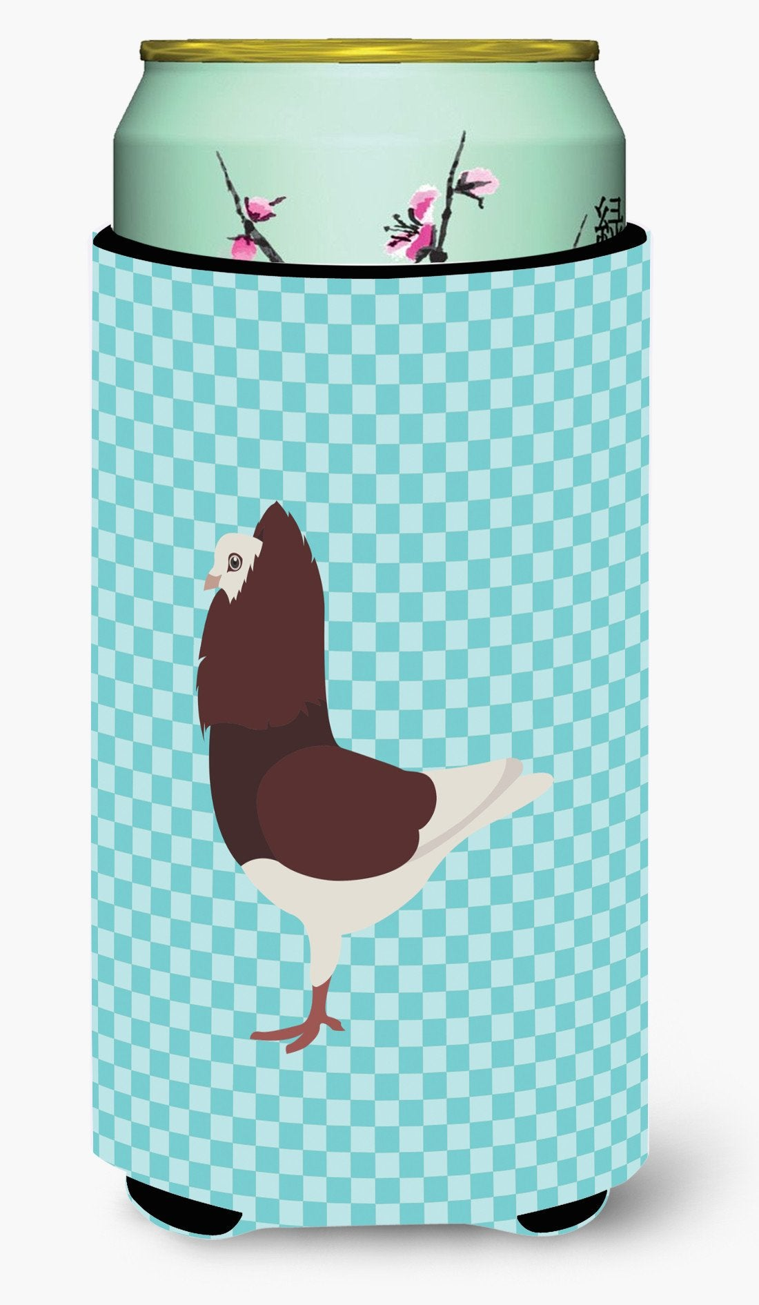 Capuchin Red Pigeon Blue Check Tall Boy Beverage Insulator Hugger BB8122TBC by Caroline's Treasures