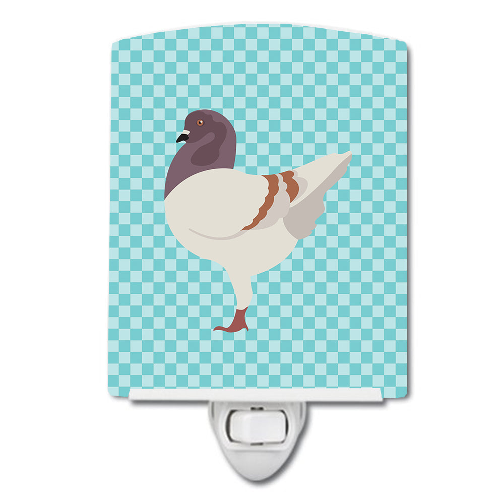 German Modena Pigeon Blue Check Ceramic Night Light BB8123CNL by Caroline's Treasures